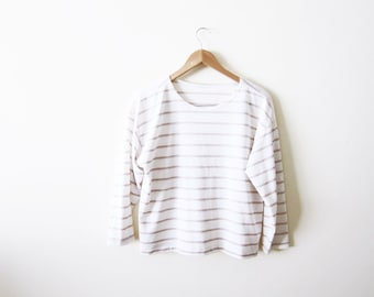 Striped Shirt / Long Sleeve Shirt / Tan and White Sailor TShirt / Breton