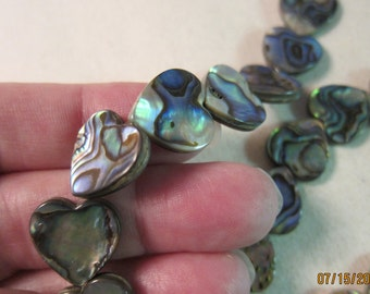 15x15mm, Paua Shell Hearts, Assembled, Flat - 2 Shell Beads or, choose a Larger Pkg or Strand Length from the 'Options' menu