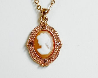 Cameo Necklace, Gold Chain Amber Rhinestones, Petite Vintage Cameo Pendant Necklace