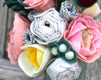 Felt Flower bouquet - bride, bridesmaids, wedding flowers, peonies, ranunculus, evergreen, pink, plum