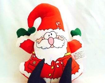 Vintage Cloth Stuffed SANTA Claus - 80s Jolly Old St. Nick - Kris Kringle Toy