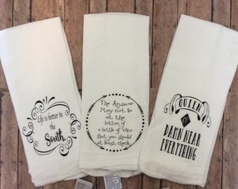kitchen towels, tea towels, kitchen towel, kitchen towel with saying, kitchen linens, flour sack towel, kitchen decor