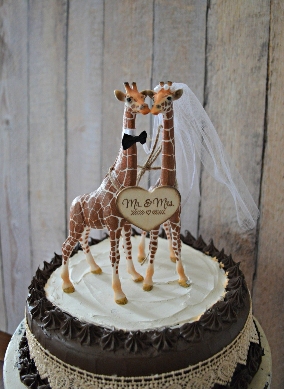 Giraffe Wedding Cake Topper Zoo Jungle Theme Mr Mrs Wood