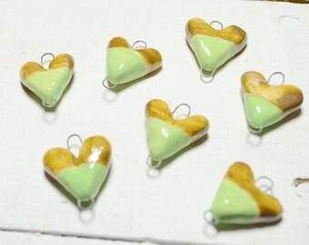 Heart Charm - Charm necklace Charm - Ceramic Charm - Handmade Charm -Connector Charm - Ceramic Art Beads - Brown- Green - Pottery Beads feb3