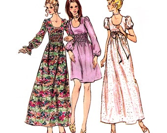 1970 Deep U Neck Dress, Maxi, Ankle or Above Knee Length, Empire or Wide Waist Elasticized Midriff, Sleeve Options, Butterick 6123, Bust 35