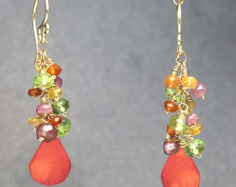 Dangle bright gemstone cluster ruby, carnelian, red coral earrings Princess 121