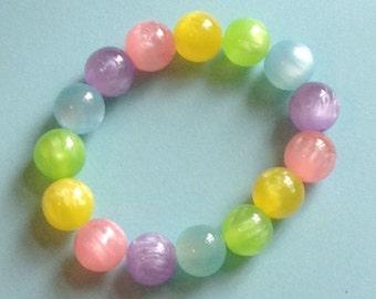 Chunky Pastel Rainbow Translucent Stretch Bracelet