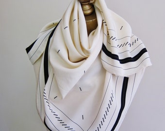 IVORY silk scarf, Alfred Sung scarf, large silk scarf, hand rolled, designer carre, ivory and black, elegant silk square, ladies headscarf