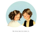 She loves him & He knows it - Han and Leia - Star Wars - open edition art print