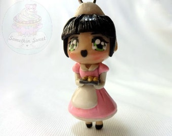 Customized waitress | kawaii chibi polymer clay made to order, lolita, keychain, cute