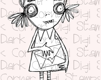 Love Letter - quirky, creepy-cute zombie girl to capture your heart.  Digi stamp for instant download.