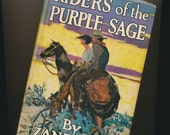 vintage book Western, Riders of the Purple Sage, Zane Grey, 1940's color dustjacket, gift for him