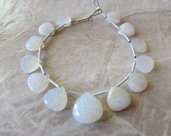 9-13mm Matched Pair, Focal White Druzy Faceted Pear Briolettes, Teardrops