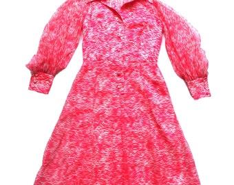 Vintage 60's Bird Print Dress UK Size 12