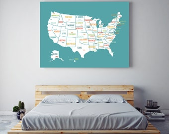 Us Map Guest Book Etsy - Us map canvas wall art
