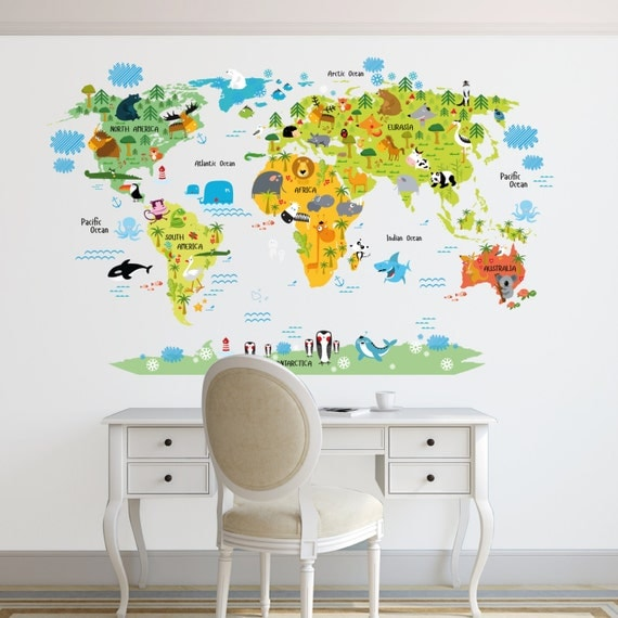 World map decal kids world map wall decal by decoryourwall for Stickers vinilos decorativos