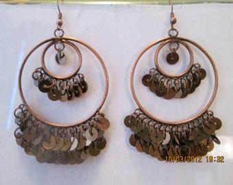 Large Bronze Tone Hoop Earrings with Bronze Disc Dangles