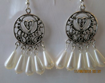 Silver Tone Chandelier Earrings with White Teardrop Pearl Dangles