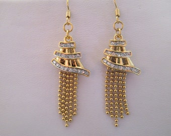 Gold Tone Dangle Earrings with Gold Tone Chains and Clear Rhinestones