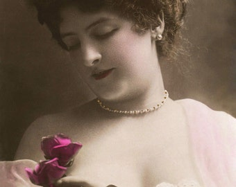 Woman With A Rose - New 4x6 Photo Print - LE128