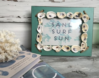 Oyster Shell Picture Frame/ Oyster Shell Photo Frame/5 x 7 Beach House Frame