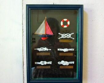 Nautical Art - Sailboat -Marine Knots - Shadow Box - Beach Decor - Glass - Frame -