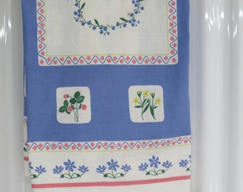 Swedish Tablecloth - Almedahls - Vintage Swedish Linen - Handtryck - Spring Tablecloth - Periwinkle Pink Tablecloth - Free Shipping - 1MTT16