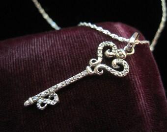 Rhinestone Key Necklace Vintage Charm Skeleton Key Sterling Silver Pendant Necklace Vintage Rhinestones 925 Chain