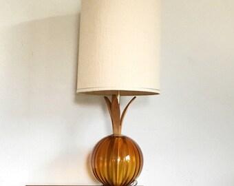 vintage mid century modern table lamp with amber globe and original shade. retro hollywood regency lighting.