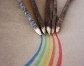Rainbow Twig Pencils, Set of 5 Coloured Twig Pencils, Rustic Twig Pencils
