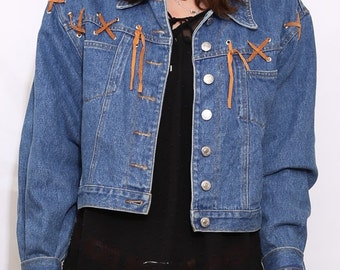 Vintage 90s Blue Denim Western Crop Jacket. Medium.