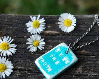 Engraved Teal Blue Pendant Necklace - Hippie Boho Style - Consciousness - Old Soul - Lightworker - Spiritual Conscious Jewelry