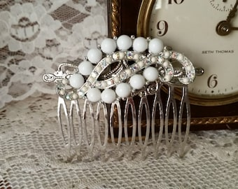 VINTAGE WHITE Milk Glass Bridal Hair Comb Assemblage Couture Aurora Borealis Bride Heirloom One of a Kind Rustic Chic Wedding Elegance