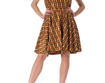 1960s Geometric Print Sleeveless Dress SIZE: S, 4