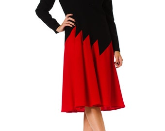 1980s Unlabeled James Galanos Minimal Colorblock Long Sleeve Dress SIZE: S, 4