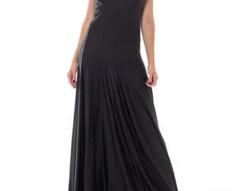 1970s Black Spandex V-neck Gown Size: XS