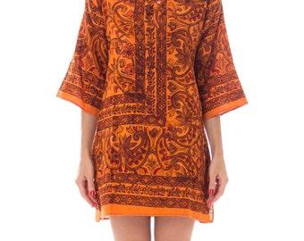 1960s Orange Ethnic Floral Block Print Tunic Size: M