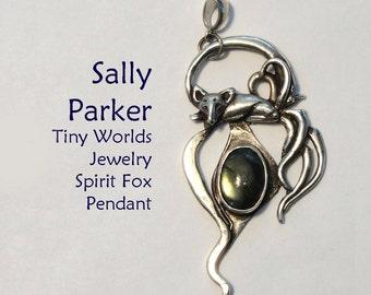 Silver Spirit Fox Pendant with Labradorite