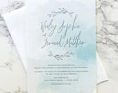LETTERPRESS SAMPLE | Letterpress Wedding Invitation | Watercolor Wedding Invitation | Wreath Wedding Invitation | Modern