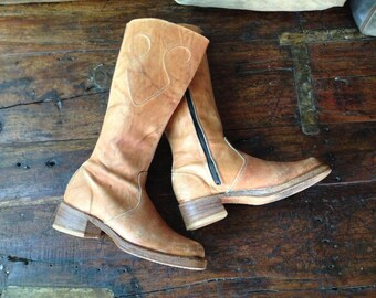 Sienna Brown Leather Boots, Chunky Heel, Knee High Campus Riding Boots, Bort Carleton, Size 7,5 US