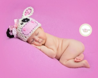 Cow Hat baby girl Newborn prop,cow hat baby, farm animal props, barnyard farm animal hats- Off white Cream,Pink,Black - Made to Order