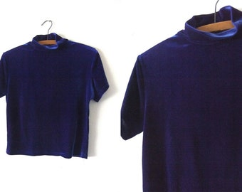 Blue Velvet Mock Neck Crop Top - Pastel Goth Crushed Velvet Cropped Tee 90s Club Kid Short Sleeve Shirt - Womens Large