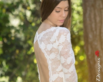 Wedding Dress, Long Bridal Gown, Ivory Bridal Dress, Lace and Chiffon Wedding Gown, Long Sleeve Wedding Dress, Handmade by SuzannaM Designs
