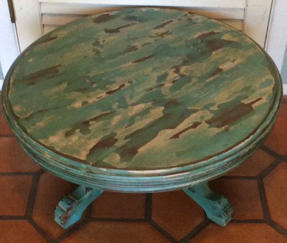 Etsy Round Coffee Tables: Vintage Blue Round Coffee Table 1940s By RevisitedConcepts