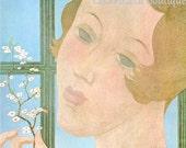 1930 Vogue Beauty in Bloom Cover Vintage 1980 Georges Lepape Art Deco Paris Fashion Flapper Sky Blue Wall Decor Hairdresser Hair Salon Print