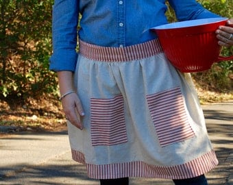 Muslin and Red Ticking Apron