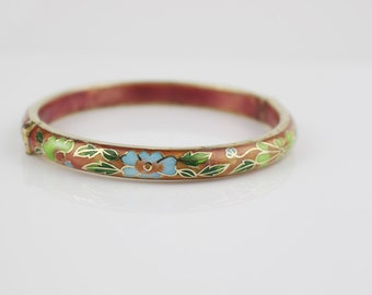 Gold Plated and Enamel Cloisonne Pink Enamel Bangle with Flower Pattern No2