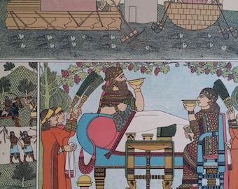 1890s Vintage Color Print Assyria & Babylon Hottenroth, Wall Art Deco