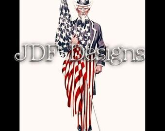 Instant Digital Download, Vintage Graphic, Uncle Sam with Flag in Stars Stripes Costume, Printable Image, Scrapbook, Americana, Patriotic