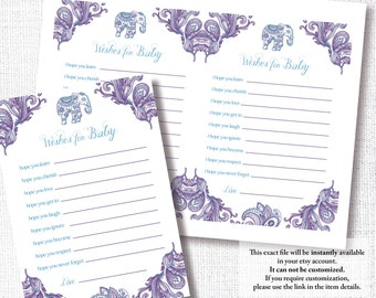 PURPLE INDIAN ELEPHANT Wishes For Baby shower game gender neutral wishes for baby advice card instant download diy digital file purple teal